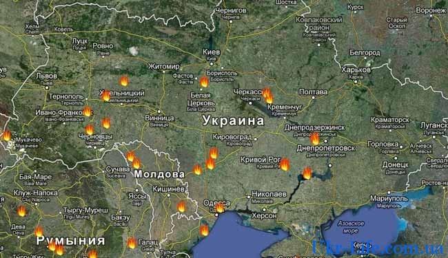 загруженная карта Украины со спутника