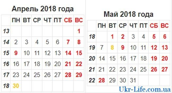 календарь бухгалтера на май 2018 года в Украине