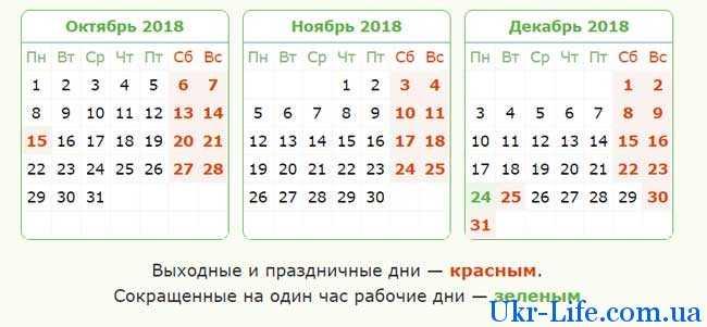 Производственный календарь на декабрь 2018 года